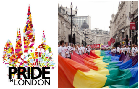 Left: Logo of Pride in London. Right: Photo of hugh rainbow flag of London Pride 2011 via  Flickr