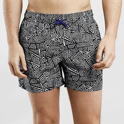 topman-geometric-print-swim-trunks