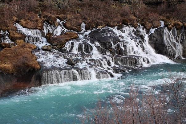Hraunfossar-waterfall